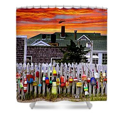 Sandy Neck Sunset Shower Curtain by Charles Harden