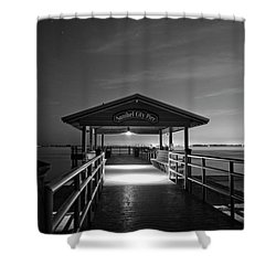 Sanibel City Pier In Black And White Shower Curtain