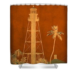 Sanibel Island Lighthouse Shower Curtain by Trish Tritz