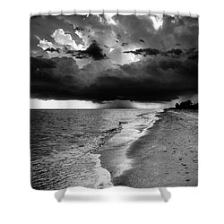 Sanibel Island Rain In Black And White Shower Curtain