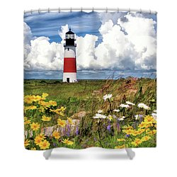 Shower Curtain featuring the painting Sankaty Head Lighthouse by Christopher Arndt
