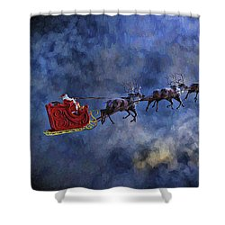 Santa And Reindeer Shower Curtain by Dave Luebbert