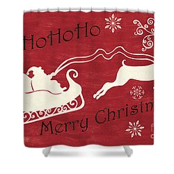 Santa And Reindeer Sleigh Shower Curtain