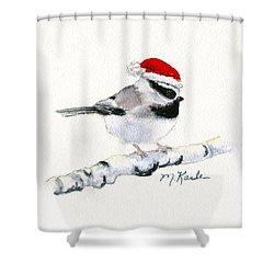 Santa Bandit - Chickadee Shower Curtain