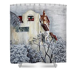 Santa Barbara Courthouse Bell Tower Shower Curtain