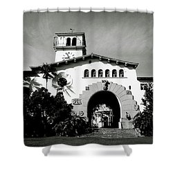 Santa Barbara Courthouse Black And White-by Linda Woods Shower Curtain by Linda Woods