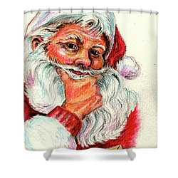 Santa Checking Twice Christmas Image Shower Curtain