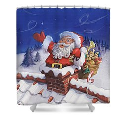 Santa Chimney Shower Curtain by Andy Catling