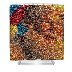 Shower Curtain featuring the mixed media Santa Claus Mm Candy Mosaic by Paul Van Scott