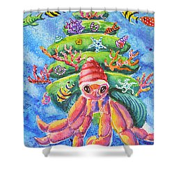 Shower Curtain featuring the painting Santa Crab by Li Newton