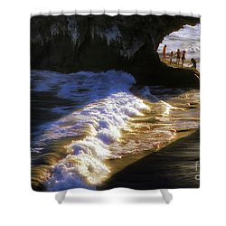 Santa Cruz 'bridge' California Coastline Shower Curtain