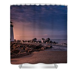 Santa Cruz Harbor Walton Lighthouse Shower Curtain