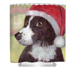 Santa Dog Shower Curtain
