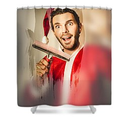 Santa Elf Preparing For Christmas Shower Curtain by Jorgo Photography - Wall Art Gallery