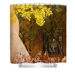 Shower Curtain featuring the digital art Santa Fe Autumn by Ann Johndro-Collins