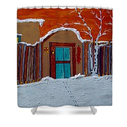 Shower Curtain featuring the photograph Santa Fe Snowstorm by Joseph Frank Baraba