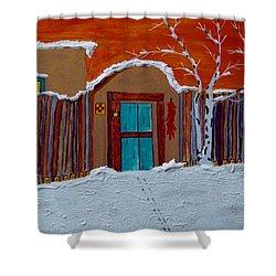 Santa Fe Snowstorm Shower Curtain by Joseph Frank Baraba