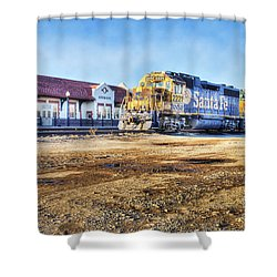 Shower Curtain featuring the photograph Santa Fe Train In Ardmore by Tamyra Ayles