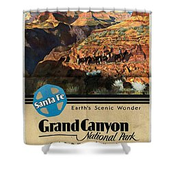 Santa Fe Train To Grand Canyon - Vintage Poster Folded Shower Curtain