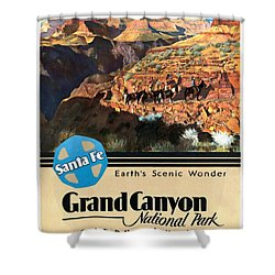 Santa Fe Train To Grand Canyon - Vintage Poster Restored Shower Curtain