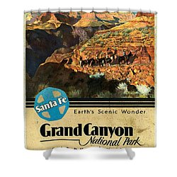Santa Fe Train To Grand Canyon - Vintage Poster Vintagelized Shower Curtain