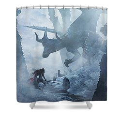 Santa Georgina Vs The Dragon Shower Curtain
