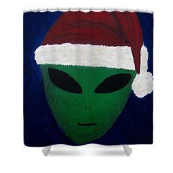 Shower Curtain featuring the painting Santa Hat by Lola Connelly
