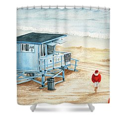 Santa Is On The Beach Shower Curtain