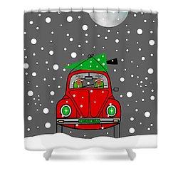 Santa Lane Shower Curtain by Kathleen Sartoris