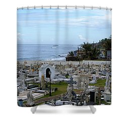 Shower Curtain featuring the photograph Santa Maria Magdalena De Pazzis Cemetery, Old San Juan by Lois Lepisto
