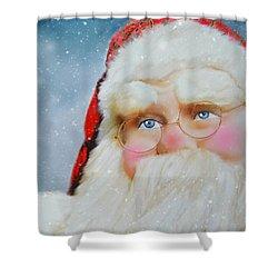 Santa  Shower Curtain by Mary Timman