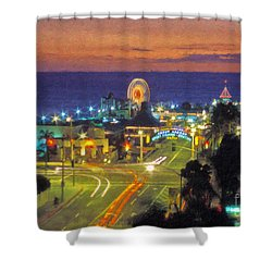 Shower Curtain featuring the photograph Santa Monica Ca  Pacific Park Pier by David Zanzinger