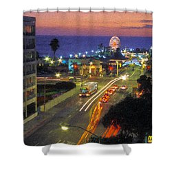 Shower Curtain featuring the photograph Santa Monica Ca Pacific Park Pier  Sunset by David Zanzinger