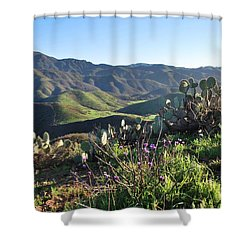 Santa Monica Mountains - Cactus Hillside View Shower Curtain