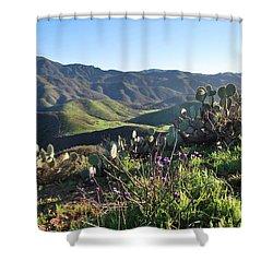 Shower Curtain featuring the photograph Santa Monica Mountains - Cactus Hillside View by Matt Harang