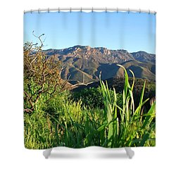 Santa Monica Mountains Green Landscape Shower Curtain