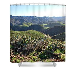 Shower Curtain featuring the photograph Santa Monica Mountains - Hills And Cactus by Matt Harang