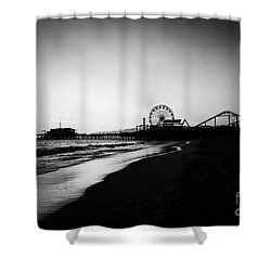 Santa Monica Pier Black And White Photography Shower Curtain by Paul Velgos