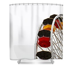 Santa Monica Pier Ferris Wheel- By Linda Woods Shower Curtain