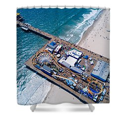 Santa Monica Pier From Above Side Shower Curtain