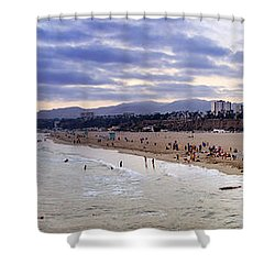 Santa Monica Sunset Panorama Shower Curtain