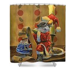 Santa Mouse Shower Curtain by Jeff Brimley