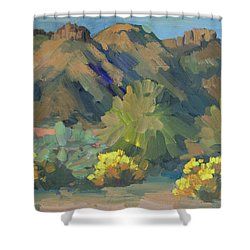 Shower Curtain featuring the painting Santa Rosa Mountains And Brittle Bush by Diane McClary
