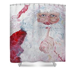 Santa Shhhh Shower Curtain by Nadine Rippelmeyer