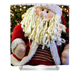 Santa Takes A Seat Shower Curtain by Vinnie Oakes
