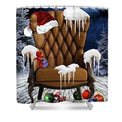 Santa's Chair Shower Curtain by Mihaela Pater