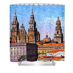 Shower Curtain featuring the painting Santiago De Compostela, Cathedral, Spain by Jane Small