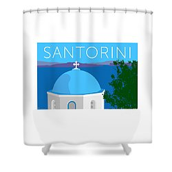 Santorini Dome - Blue Shower Curtain