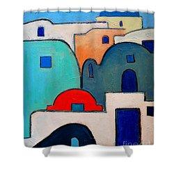 Santorini Cityscape Shower Curtain by Ana Maria Edulescu