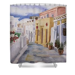 Shower Curtain featuring the painting Santorini Cloudy Day by Teresa Beyer